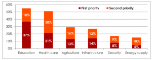 bar chart with percentages of priority of different areas